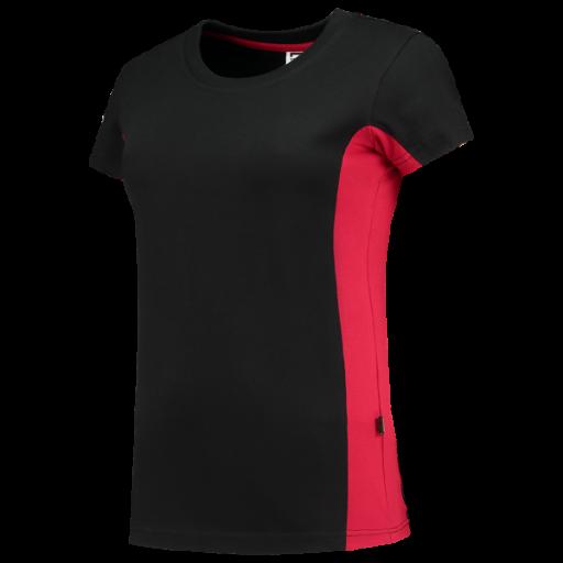 Dames tshirt Tricorp 102003 bi-colour zwart met rood