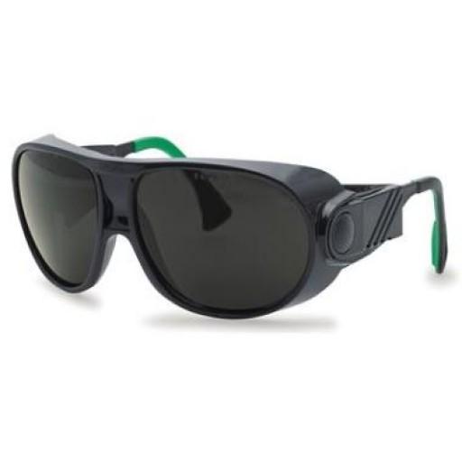 Lasbril Uvex futura 9180-145, groene PC lens, beschermtint 5.0