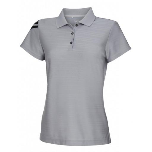 Poloshirt Adidas AD034 met 3 strepen Dames grijs met zwart