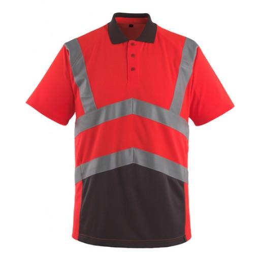Poloshirt Mascot Anadia met reflectie bi-colour EN471 kl.2 fluor rood met grijs