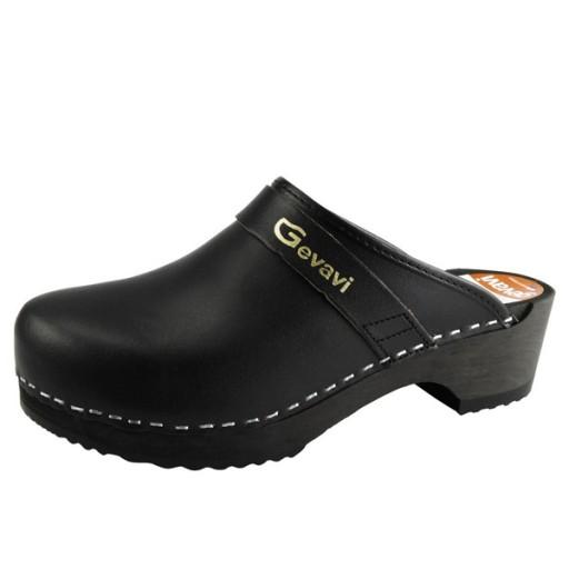 Schoenklompen GEVAVI - 9200 hout - zwart - onbeveligd