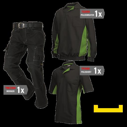 Kledingpakket Tricorp zwart met lime groen ( Basic pakket)