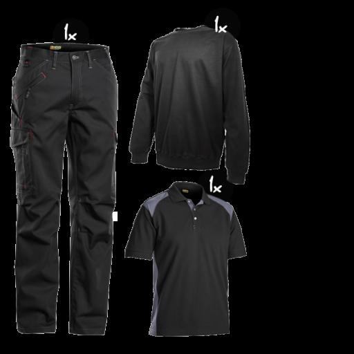 Kledingpakket Blaklader service Zwart met grijs ( Budget pakket)