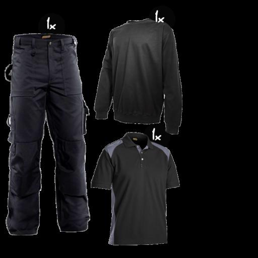Kledingpakket Blaklader worker Zwart met grijs ( Budget pakket)