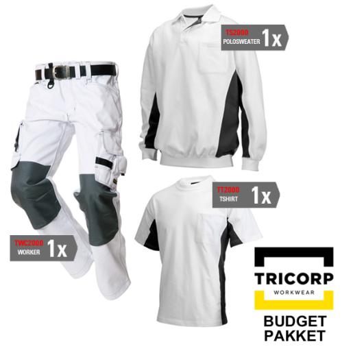 Kledingpakket Tricorp Wit met grijs ( Budget pakket)