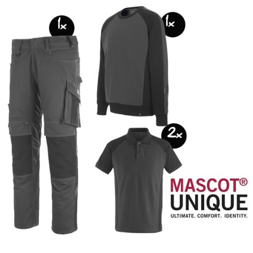Kledingpakket Mascot Unique grijs met zwart basic