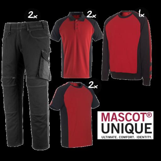 Kledingpakket Mascot Unique Rood met Zwart ( Premium pakket)