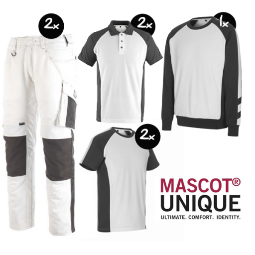 Kledingpakket Mascot Unique Wit met grijs ( Premium pakket)