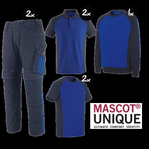 Kledingpakket Mascot Unique korenblauw met navy ( Premium pakket)