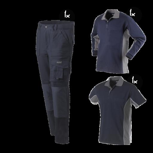Kledingpakket Workman Worker navy met grijs ( Basic pakket)