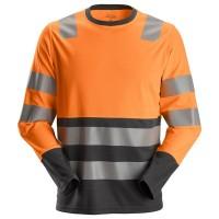 T-shirt l/m Snickers 2433 High-Vis EN471 KL.2 oranje met staal grijs