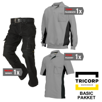 Kledingpakket Tricorp Grijs met zwart ( Basic pakket)