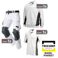 Kledingpakket Tricorp Wit met grijs ( Basic pakket)