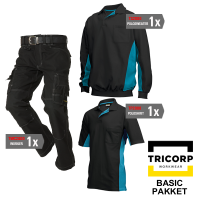 Kledingpakket Tricorp Zwart met turquoise ( Basic pakket)