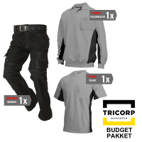 Kledingpakket Tricorp Grijs met zwart ( Budget pakket)