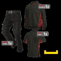 Kledingpakket Tricorp Zwart met rood ( Budget pakket)