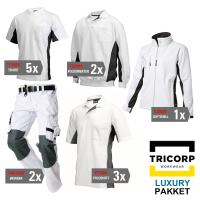 Kledingpakket Tricorp wit met grijs ( Luxury pakket)