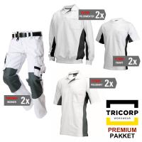 Kledingpakket Tricorp wit met grijs ( Premium pakket)