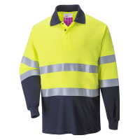 Poloshirt lm Portwest FR74 vlamvertragend AST geel/navy blauw