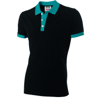 Poloshirt Tricorp PBF210 Fitted bi-colour zwart/turouise