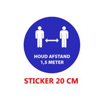 """Sticker vinyl """"1.5 meter afstand"""" - rond 20cm."""