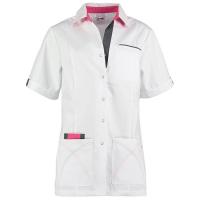 Zorgjas ( tuniek) Haen Elien 74004 wit met roze
