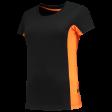 Dames tshirt Tricorp 102003 bi-colour zwart met oranje